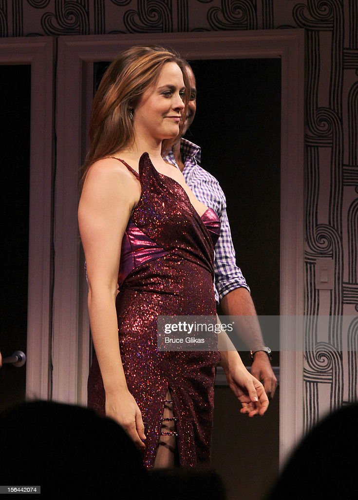 Alicia Silverstone takes her opening night curtain call for 'The Performers' on Broadway at the Longacre Theatre on November 14, 2012 in New York City.