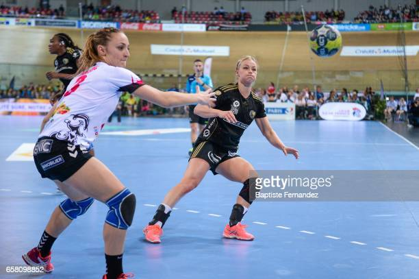 Alicia Toublanc of Brest and Stine Oftedal of Issy Paris during the female handball League match between Issy Paris and Brest Bretagne at National...