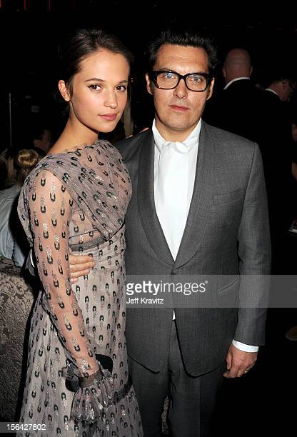 Alicia Vikander and Joe Wright celebrate at the after party for 'Anna Karenina' at Greystone Manor Supperclub on November 14 2012 in West Hollywood...