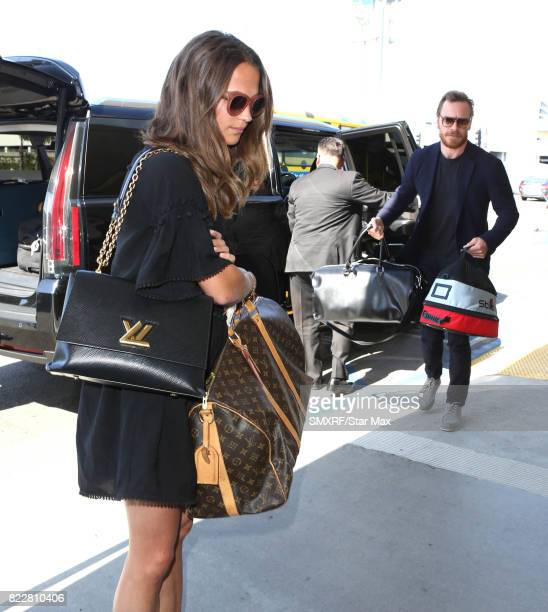 Alicia Vikander and Michael Fassbender are seen on July 25 2017 in Los Angeles California