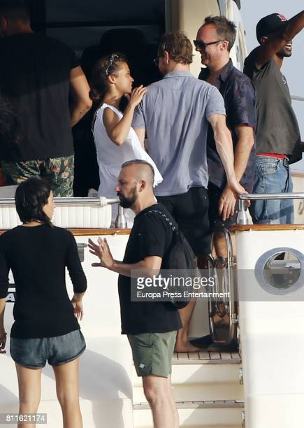 Alicia Vikander and Michael Fassbender are seen on July 7 2017 in Ibiza Spain