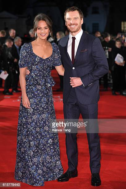 Alicia Vikander and Michael Fassbender arrive for the UK premiere of 'The Light Between Oceans' at The Curzon Mayfair on October 19 2016 in London...