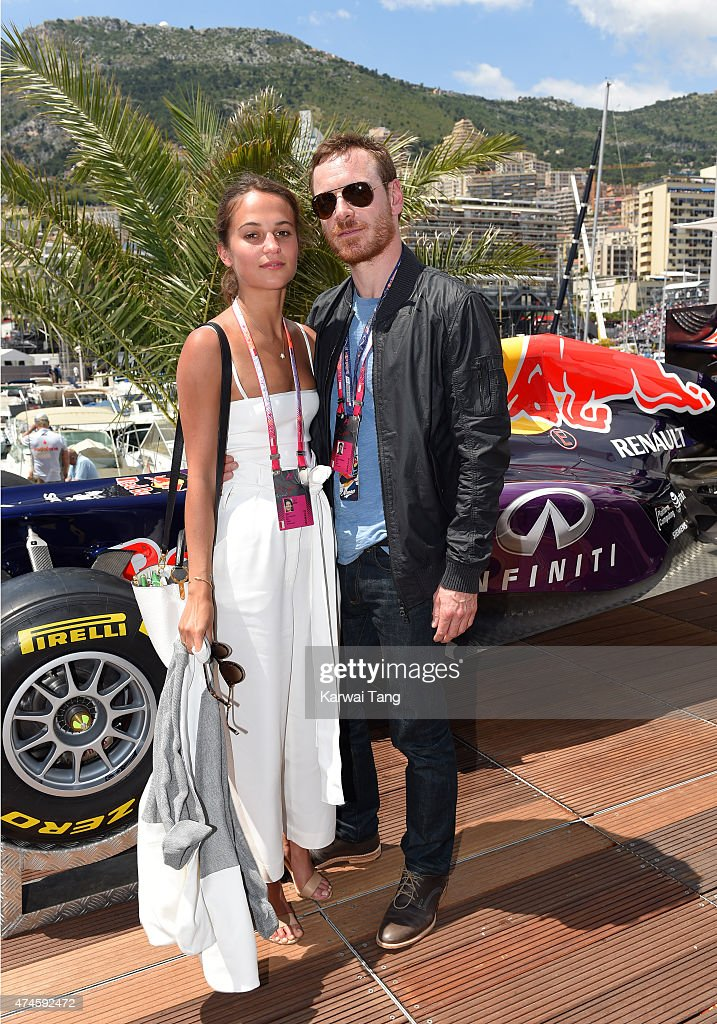 Alicia Vikander and Michael Fassbender attend the Infiniti Red Bull Racing Energy Station at Monte Carlo on May 24 2015 in Monte Carlo Monaco