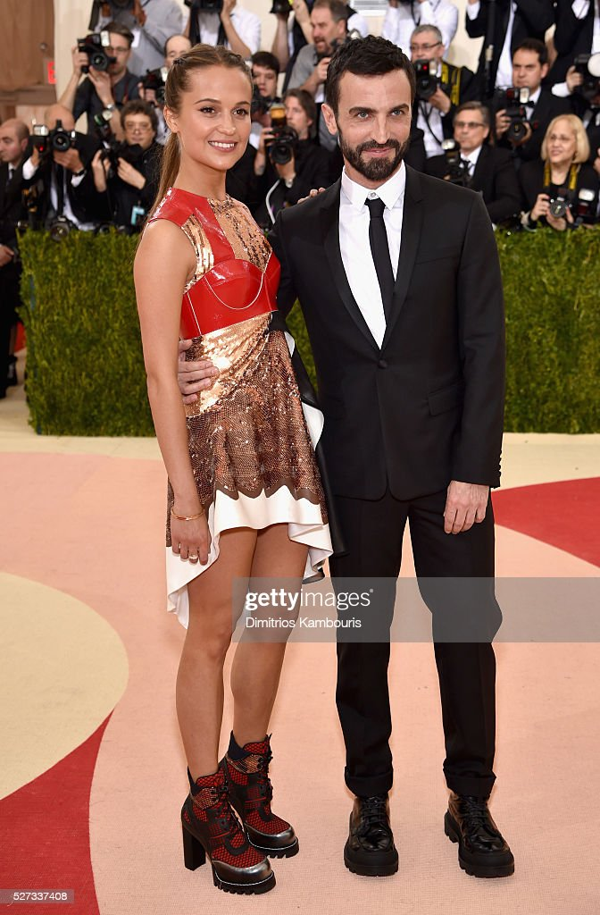Alicia Vikander and Nicolas Ghesquiere attend the 'Manus x Machina: Fashion In An Age Of Technology' Costume Institute Gala at Metropolitan Museum of Art on May 2, 2016 in New York City.