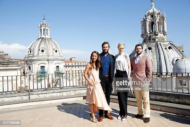 Alicia Vikander Armie Hammer Elizabeth Debicki and Henry Cavill attend 'The Man From UNCLE' Photocall at Terrazza Civita on May 9 2015 in Rome Italy