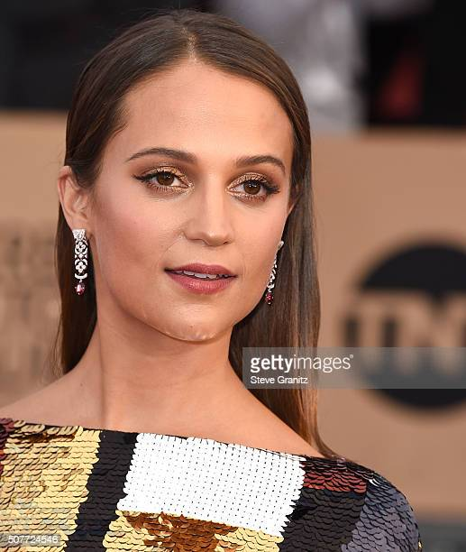 Alicia Vikander arrives at the 22nd Annual Screen Actors Guild Awards at The Shrine Auditorium on January 30 2016 in Los Angeles California