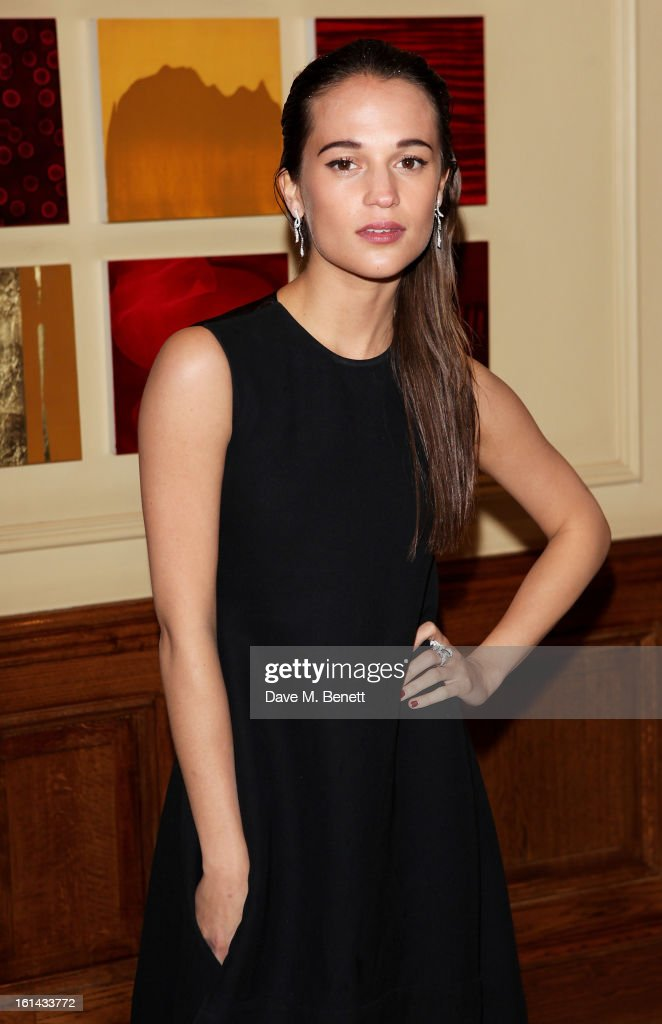 Alicia Vikander arrives at the after party following the EE British Academy Film Awards at Grosvenor House on February 10, 2013 in London, England.