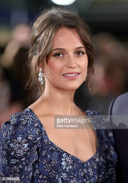 Alicia Vikander arrives for the UK premiere of 'The Light Between Oceans' at The Curzon Mayfair on October 19 2016 in London England