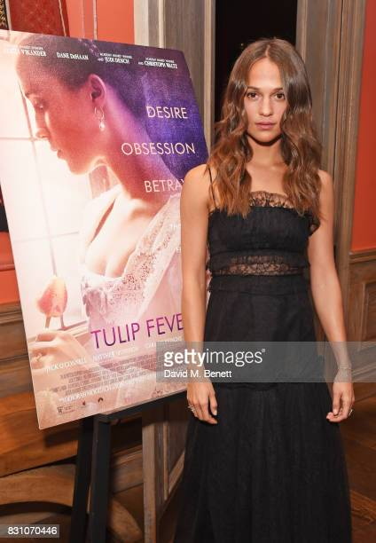 Alicia Vikander attends a VIP preview screening of 'Tulip Fever' at The Soho Hotel on August 13 2017 in London England