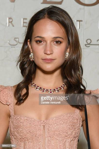 Alicia Vikander attends Grand Opening Bulgari Dubai Resort on December 5 2017 in Dubai United Arab Emirates
