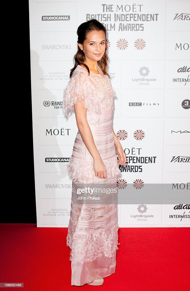 <a gi-track='captionPersonalityLinkClicked' href=/galleries/search?phrase=Alicia+Vikander&family=editorial&specificpeople=7246025 ng-click='$event.stopPropagation()'>Alicia Vikander</a> attends the British Independent Film Awards at Old Billingsgate Market on December 9, 2012 in London, England.