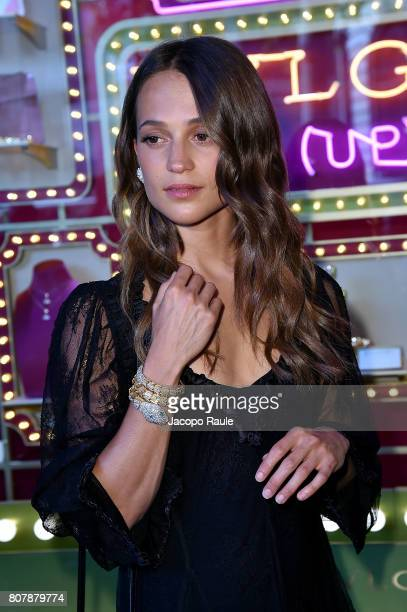 Alicia Vikander attends the Bvlgari Puo Up Store Ribbon Cutting At The Galeries Lafayette as part of Haute Couture Paris Fashion Week on July 4 2017...