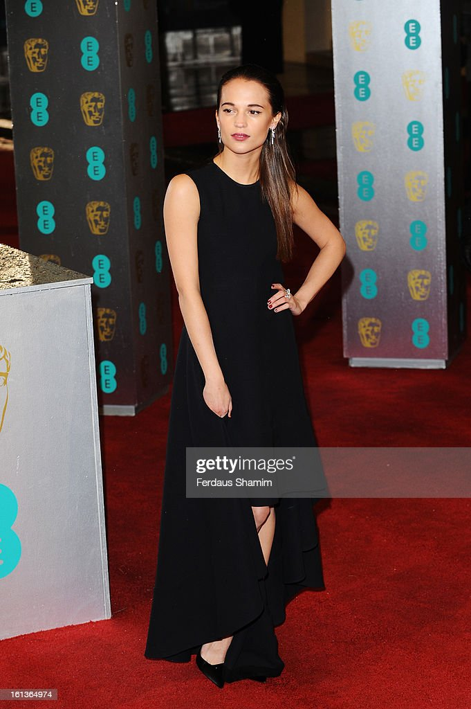 Alicia Vikander attends the EE British Academy Film Awards at The Royal Opera House on February 10, 2013 in London, England.