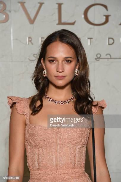 Alicia Vikander attends the Grand Opening of Bulgari Dubai Resort on December 5 2017 in Dubai United Arab Emirates