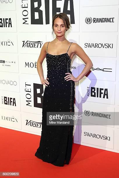 Alicia Vikander attends the Moet British Independent Film Awards at Old Billingsgate Market on December 6 2015 in London England