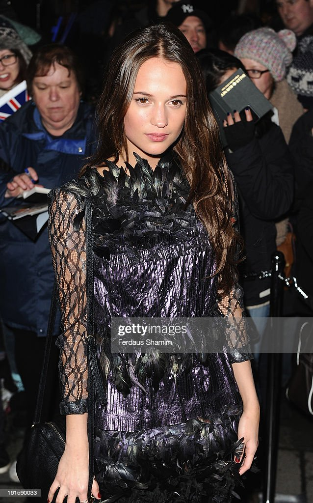 <a gi-track='captionPersonalityLinkClicked' href=/galleries/search?phrase=Alicia+Vikander&family=editorial&specificpeople=7246025 ng-click='$event.stopPropagation()'>Alicia Vikander</a> attends the pre-BAFTA dinner hosted by Charles Finch and Chanel at Annabels on February 9, 2013 in London, England.