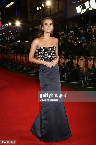 Alicia Vikander attends the UK Premiere of 'The Danish Girl' at Odeon Leicester Square on December 8 2015 in London United Kingdom