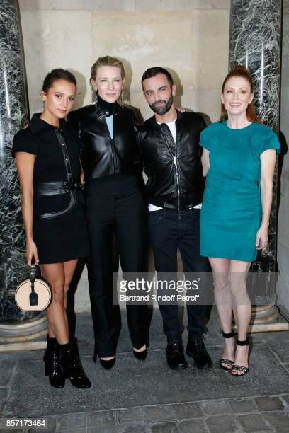 Alicia Vikander Cate Blanchett Nicolas Ghesquiere and Julianne Moore pose after the Louis Vuitton show as part of the Paris Fashion Week Womenswear...