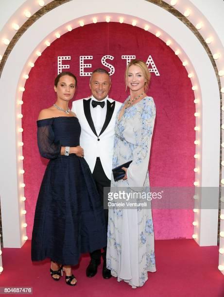 Alicia Vikander CEO of BVLGARI JeanChristophe Babin and Princess Lilly zu Sayn WittgensteinBerleburg attend Bvlgari Party at Scuola Grande della...