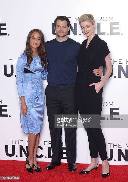 REQUIRED Alicia Vikander Henry Cavill and Elizabeth Debicki attend 'The Man from UNCLE' photocall at Claridge's Hotel on July 23 2015 in London...