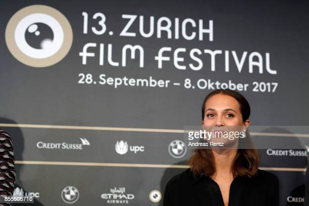 Alicia Vikander is seen at the 'Euphoria' press conference during the 13th Zurich Film Festival on September 29 2017 in Zurich Switzerland The Zurich...