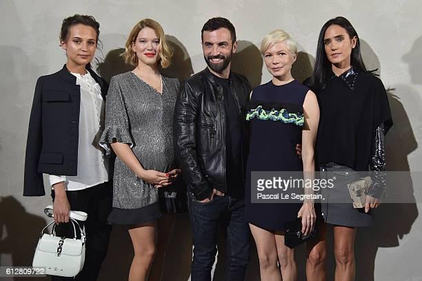 Alicia Vikander Lea Seydoux Nicolas Ghesquiere Michelle Williams and Jennifer Connelly attend the Louis Vuitton show as part of the Paris Fashion...