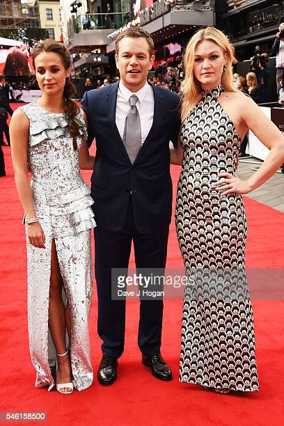 Alicia Vikander Matt Damon and Julia Stiles arrive for the European premiere of 'Jason Bourne' at Odeon Leicester Square on July 11 2016 in London...