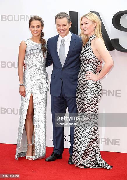 Alicia Vikander Matt Damon and Julia Stiles attend the 'Jason Bourne' European premiere at the Odeon Leicester Square on July 11 2016 in London...