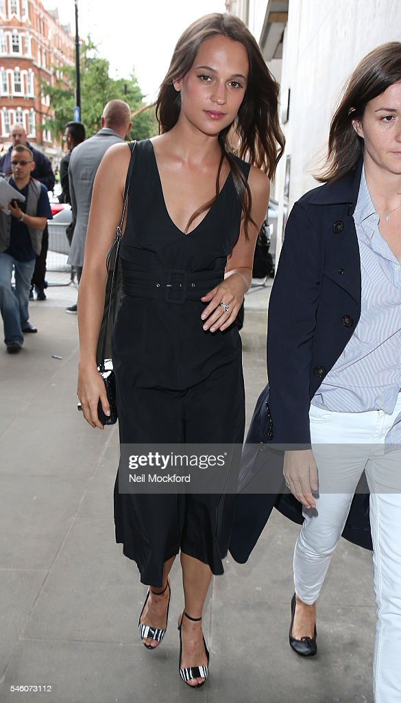 Alicia Vikander seen at BBC Radio One promoting new movie 'Jason Bourne' on July 11 2016 in London England