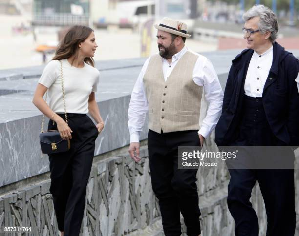 Alicia VikanderCelyn Jones and Wim Wenders attends 'Submergence' photocall during 65th San Sebastian Film Festival on September 22 2017 in San...