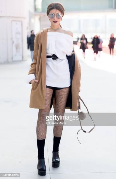 Alicia wears Berska jacket Calzedonia socks Ralph Lauren shirt and Marypaz shoes during the Mercedes Benz Fashion Week Autumn / Winter 2017 at Ifema...