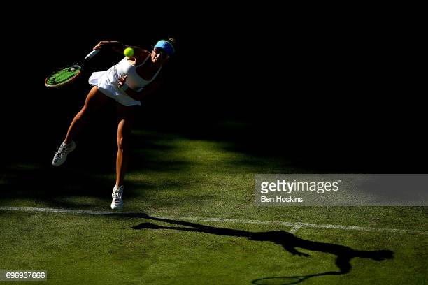 Alicja Rosolska of Poland serves during the qualifying match against Miyu Kato of Japan at Edgbaston Priory Club on June 17 2017 in Birmingham England