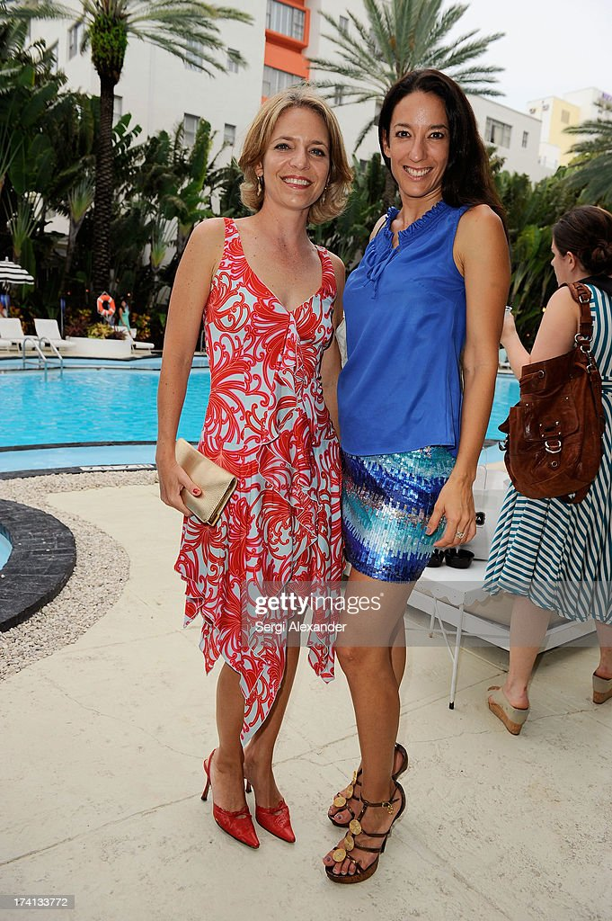 Alida Lecheer and Lucia Sotres attend the ABEST & ABIT Brazilian Swimwear Designers Cocktail Party during Mercedes-Benz Fashion Week Swim 2014 at The Raleigh on July 20, 2013 in Miami, Florida.