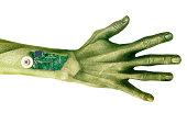 Alien cyborg hand on white.