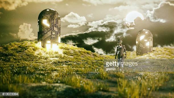 Alien cyborg landing on a green planet