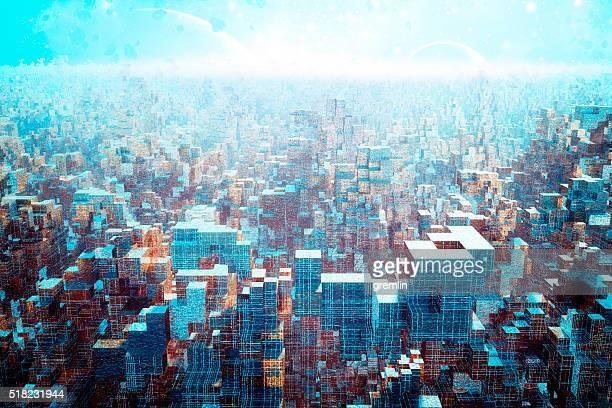 Alieno paesaggio urbano futuristico