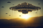 3D illustration with photography. Alien invasion of spaceships.