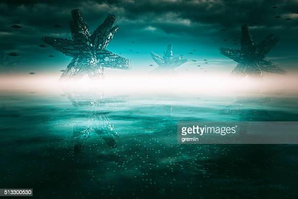 Paysage de planète extraterrestre sur Horizon