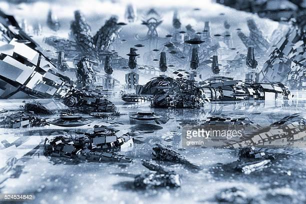 Pianeta alieno paesaggio in remoto