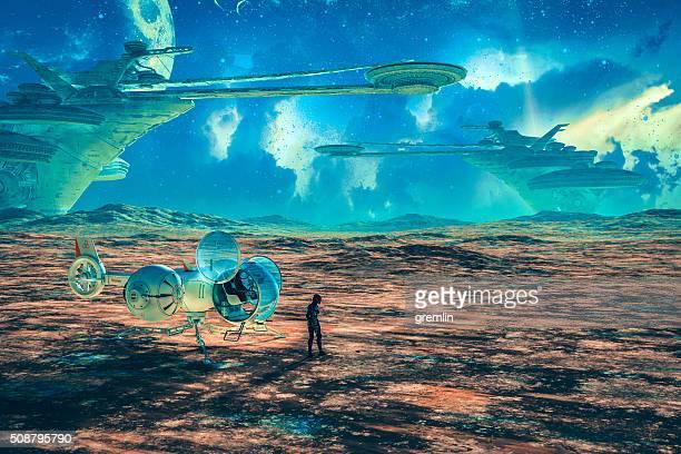 Pianeta alieno con robot, droni e sfondo città alveare