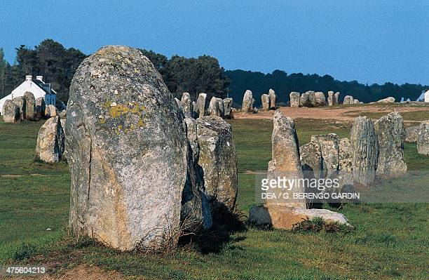 Alignments of standing stones in Menec at Carnac Brittany France Neolithic era