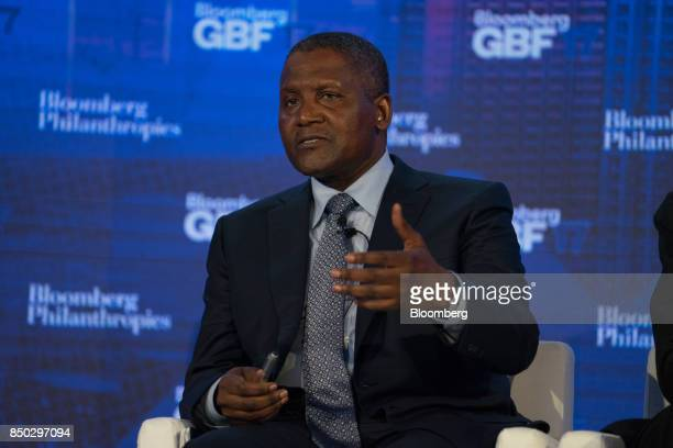 Aliko Dangote chief executive officer of Dangote Industries Ltd speaks during the Bloomberg Global Business Forum in New York US on Wednesday Sept 20...