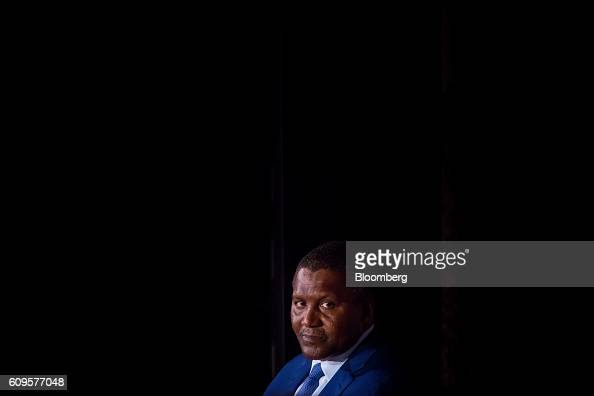 Aliko Dangote president and chief executive officer of Dangote Sugar Refinery Plc listens during the US Africa Business Forum in New York US on...