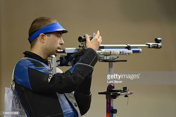 Alin George Moldoveanu competes in the Men's 10m Air Rifle Shooting final on Day 3 of the London 2012 Olympic Games at The Royal Artillery Barracks...