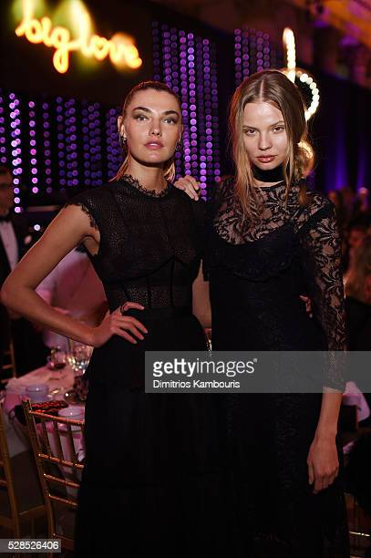 Alina Baikova and Magdalena Frackowiak attend the 10th Annual Delete Blood Cancer DKMS Gala at Cipriani Wall Street on May 5 2016 in New York City