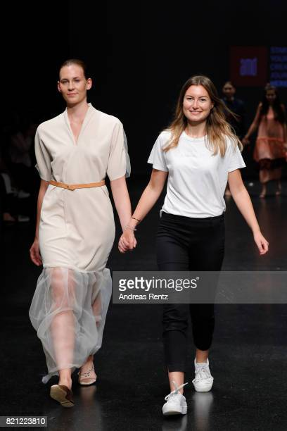 Alina Bosse acknowledges the audience after her show 'Pina' at the AMD Exit17_2 show during Platform Fashion July 2017 at Areal Boehler on July 23...