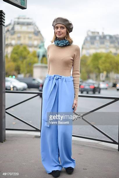 Alina Gelzina poses before the Miu Miu show at the Palais de Iena during Paris Fashion Week SS16 on October 7 2015 in Paris France