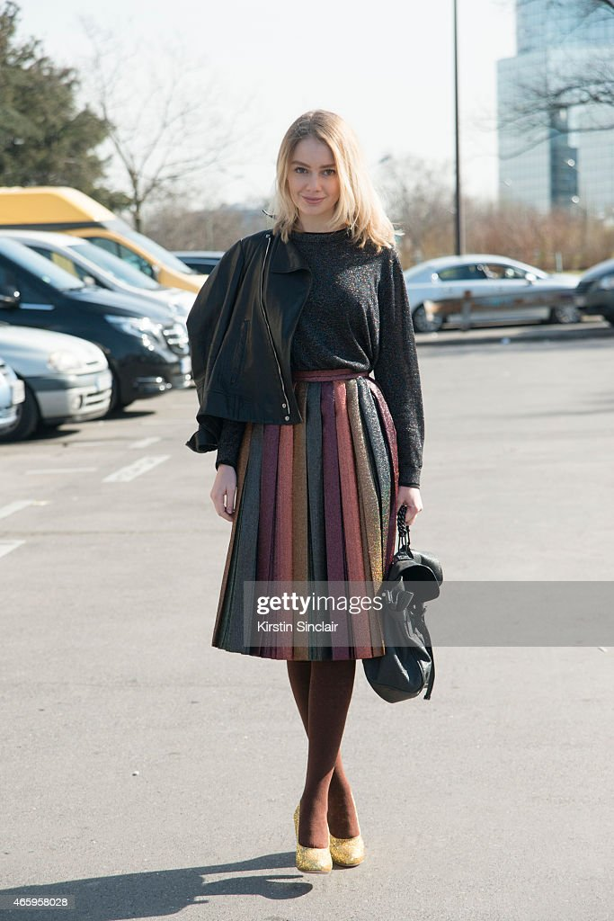Alina Gelzina wears a Marca Du Valdeza skirt Gucci jacket Topshop top Miu Miu shoes Mulberry bag on day 6 of Paris Collections Women on March 08 2015...