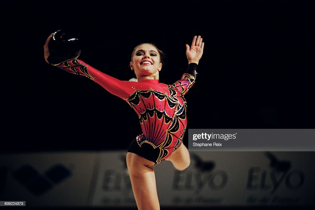 <a gi-track='captionPersonalityLinkClicked' href=/galleries/search?phrase=Alina+Kabaeva&family=editorial&specificpeople=633246 ng-click='$event.stopPropagation()'>Alina Kabaeva</a> from Russia performs with ball at the International tournament of Thiais. | Location: Thiais, France.