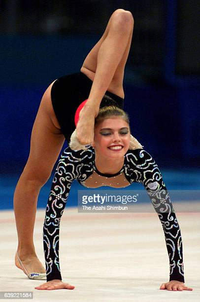 Alina Kabaeva of Russia competes in the Ball during the Rhythmic Gymnastic qualification during the Sydney Olympics at Pavilion 3 on September 29...